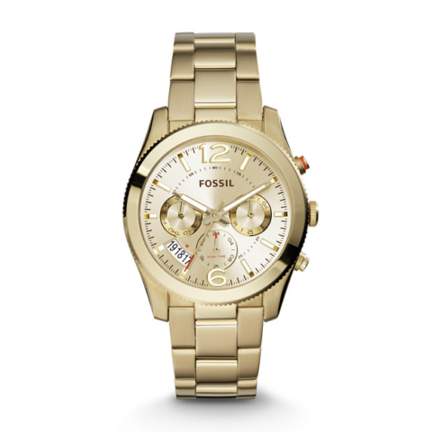 PERFECT BOYFRIEND MULTIFUNCTION GOLD-TONE STAINLESS STEEL WATCH fossil